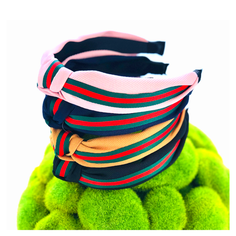 Designer Inspired Corduroy Red & Green Stripe Headbands in NAVY, BLACK, CAMEL & PINK