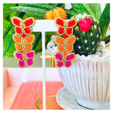 Fuchsia, Gold, Orange & Red Beaded Triple Butterfly Earrings