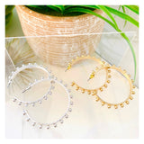 "Brushed Gold or Silver STUDDED 2"" Hoops"