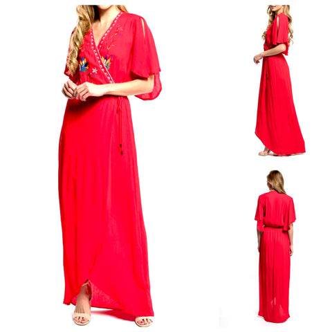 Tomato Red Embroidered Mexicali Maxi Dress