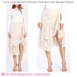 Ivory Lace Tiered Ruffle Hem Midi Skirt with Banded Waist