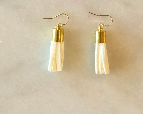 Off White Leather Tassel Earrings with Gold Barrel