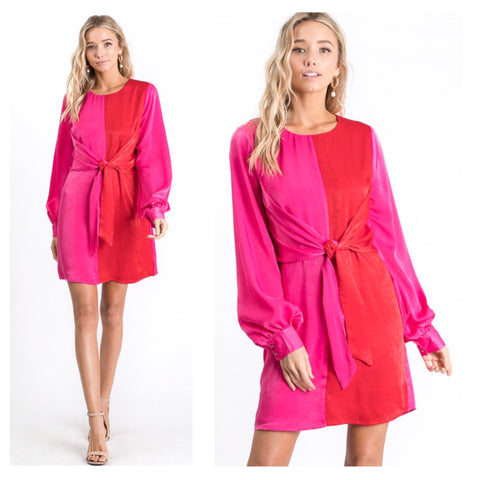 Magenta & Coral Red Satin Color Block Balloon Sleeve Dress with Front or Back Self Tie