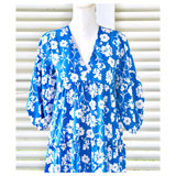 Grecian Blue Ivory Floral Print Puff Sleeve Dress with Tiered Ruffle Trim Hem