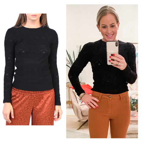 Black Pointelle Patterned Fine Knit Shirred Shoulder Sweater with Micro Scalloped Neckline & Banded Waist