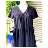 Black Short Sleeve Tiered Hem Maxi Dress with Side Ties & Pockets