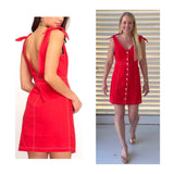 Watermelon Button Down Dress with Shoulder Ties & Contrast Stitching