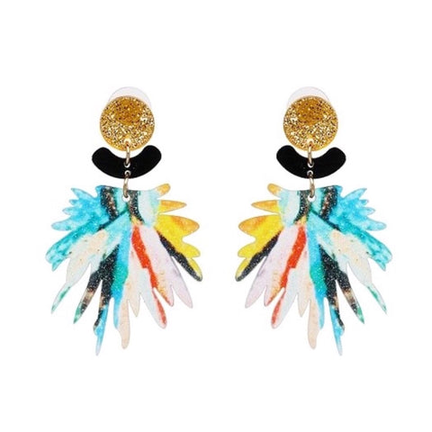 Laser Cut Multicolor Glitter Splatter Earrings