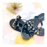 Black VALENTINO Inspired Rockstud Bow Sandals