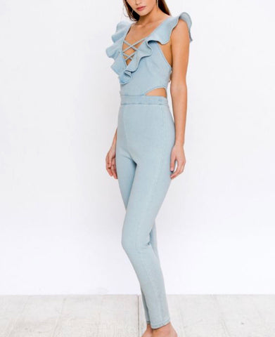 Chambray Ruffle Jumpsuit with Cutouts