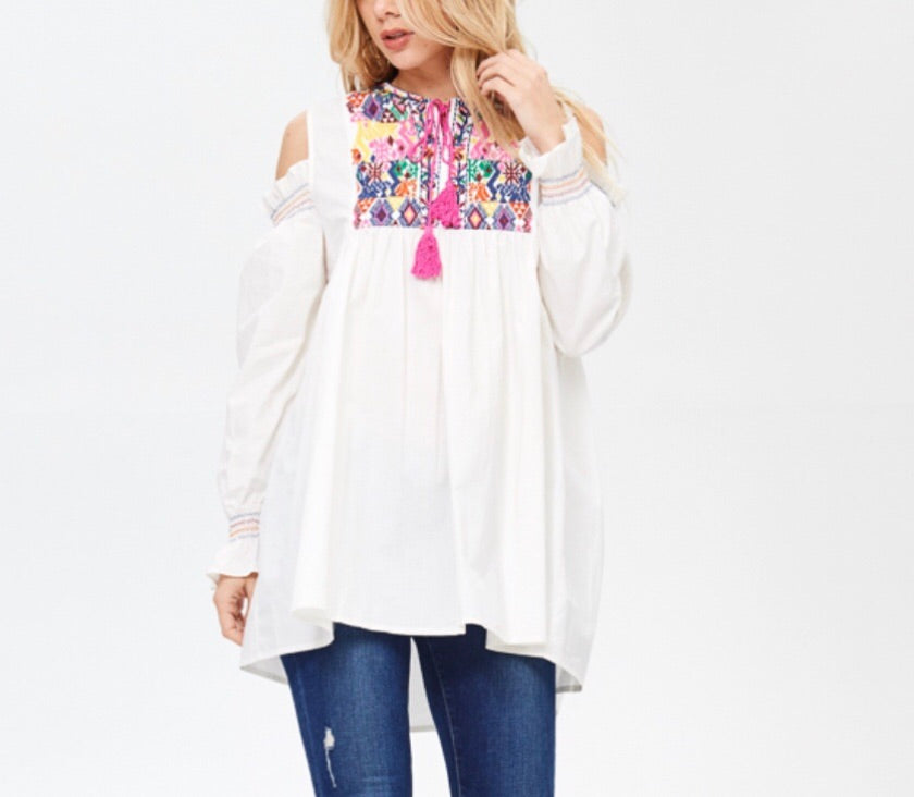 073982667d1 White Cold Shoulder Embroidered Tunic Top with Pink Tassels - James ...