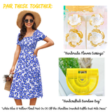 White Blue & Yellow Floral Print On OR Off the Shoulder Smocked Ruffle Bust Midi Dress