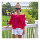Fuchsia 3/4 Sleeve Smocked Off the Shoulder Top with Ruffle Trim