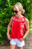 VIBRANT Red Embroidered Sleeveless Top