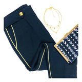 Navy Pants with Metallic Gold Leg Embroidery with Gold Waist Buttons & Pockets