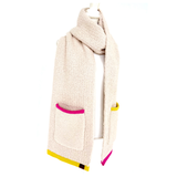 Pink & Yellow Embroidered Chenille Scarf Shawl with Pockets