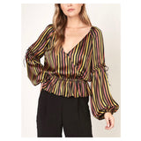 Black Gold & Merlot Stripe Silk Balloon Sleeve Peplum Top with Ruffle Detail