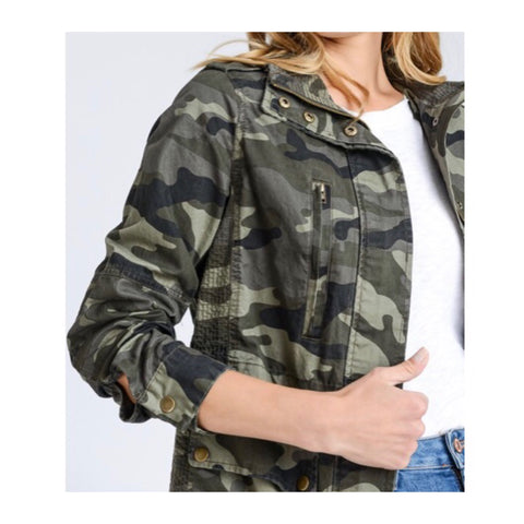 Camo Print Zip Front Utility Jacket with Gathered A-Line Back