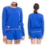Royal Blue Knit Crewneck Sweater with Pink Contrast Trim & Sailor Button Accents