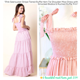 Coral Seersucker Stripe Tiered Ruffle Hem Tie Shoulder Maxi Dress with Smocked Bodice & Ruched Ruffle Trim