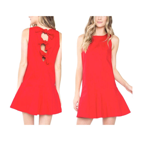Red Sleeveless BOW Shift Dress with Subtle Ruffle Hem