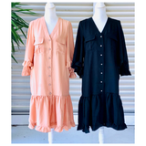 Black or Beige Tonal Stripe Fan Sleeve Ruffle Hem Button Down Dress with Front Pockets