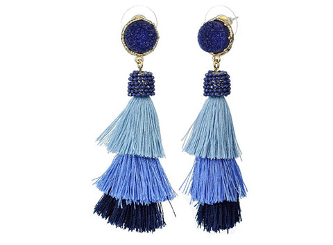 Mixed Blues Triple Tassel Stone Embellished Post Mount Earrings