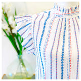 White Blue Multicolor Embroidered Flutter Sleeve Mock Ruffle Neck Top with Keyhole Back