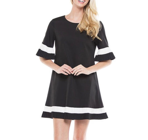 Black & Ivory Accordion Pleated Bell Sleeve Shift Dress with Back Zip