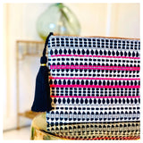 Black White & Neon Pink Beaded & Embroidered Tassel Clutch