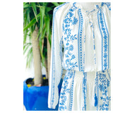 White & Blue Long Sleeve Dress with Smocked Waist & Optional Tassel Tie