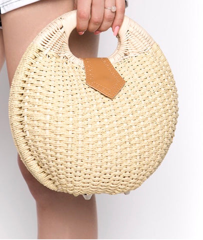 Straw Hard-sided  'Bowler' Handbag