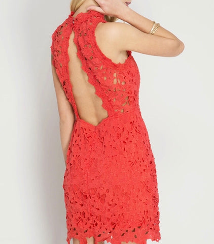 Tomato Red Sleeveless Lace Dress with Teardrop Open Back