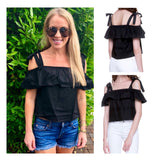 Black Cold Shoulder Ruffle Top with Tie Sleeves