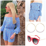 Blue White Pinstripe Watermelon Romper