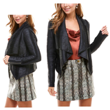 Black Pleated PU Leather Open Front Jacket with Zipper Sleeves & Shawl Style Lapel