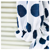 White & Navy Ikat Dot Ruffle Waist Shorts with Detachable Belt & Concealed Pockets