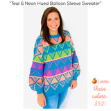 Teal & Neon Hued Balloon Sleeve Sweater