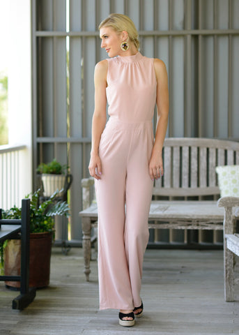 Blush  Mock Neck Jumpsuit with Cutouts