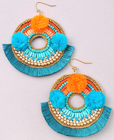 Orange & Turquoise Circle Fringe Earrings with Pom Poms