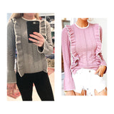 Pink OR Grey Ruffle Bust Knit Tops with Flute Sleeves