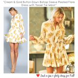 Cream & Gold Button Down Bishop Sleeve Pleated Flare Dress with Tassel Tie Waist