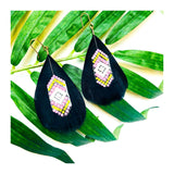 Black Feather Earrings with Lavender Yellow & White Beads