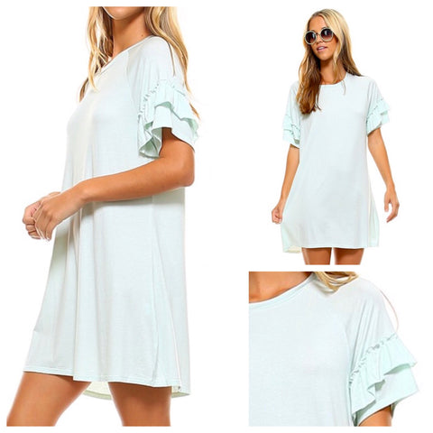 Seafoam Ruffle Sleeve Dress with Subtle White Stripes