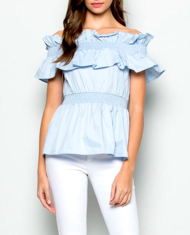 Baby Blue Off the Shoulder Smocked Peplum Top