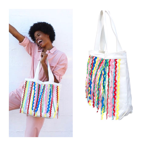 White Canvas Tote with Blue Green Red Pink & Yellow Ric Rac Trim