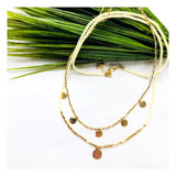"Ivory & Metallic Gold Druzy Single Charm 24"" Necklace"