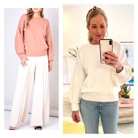 Winter White or Milky Peach Balloon Sleeve Knit Boatneck Sweater with Banded Waist