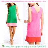 Navy, Pink or Kelly Green Colorblock Stretch Knit Crepe Shift Dress with V-Back