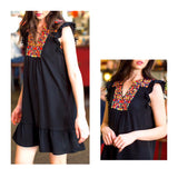 Black Flutter Sleeve Dress with Micro Pom Poms, Embroidered Yoke & Ruffle Hem